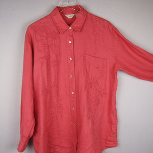 Embroidered 100% Linen Oversized Shirt M